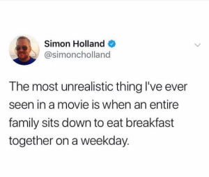 Literally never happens by LaithBushnaq MORE MEMES: Simon Holland  @simoncholland  The most unrealistic thing I've ever  seen in a movie is when an entire  family sits down to eat breakfast  together on a weekday. Literally never happens by LaithBushnaq MORE MEMES