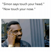 """Dank Memes, Simon Says, and Nose: Simon says touch your head  """"Now touch your nose. (@idroppedthescrewinthetuna) beautiful meme."""