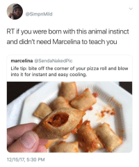 Blackpeopletwitter, Life, and Pizza: @SimpnMild  RT if you were born with this animal instinct  and didn't need Marcelina to teach you  marcelina @SendaNakedPic  Life tip: bite off the corner of your pizza roll and blovw  into it for instant and easy cooling  12/15/17, 5:30 PM <p>Maybe I want my mouth to burn bih (via /r/BlackPeopleTwitter)</p>
