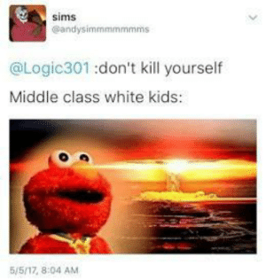 Everybody Needs a Role Model: sims  @andysimmmmmmms  @Logic301 :don't kill yourself  Middle class white kids  5/5/17, 8:04 AM Everybody Needs a Role Model
