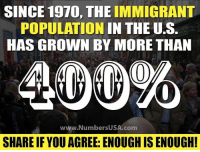 Memes, 🤖, and Com: SINCE 1970, THE IMMIGRANT  POPULATION IN THE U.S.  HAS GROWN BY MORE THAN  www.NumbersUSA.com  SHARE IF YOU AGREE: ENOUGH IS ENOUGH Enough is enough.