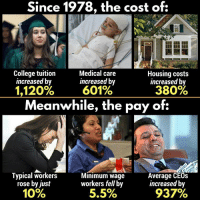 "Bad, College, and Sorry: Since 1978, the cost of:  College tuition  increased by  Medical care  increased by  601%  Housing costs  increased by  1,120%  380%  Meanwhile, the pay of:  Typical workers  rose by just  10%  Minimum wage  workers fell by  5.5%  Average CEOs  increased by  927% <p><a href=""https://phenoniix.tumblr.com/post/169484127943/ohgodhesloose-phroyd-thank-your-local"" class=""tumblr_blog"">phenoniix</a>:</p> <blockquote> <p><a href=""http://ohgodhesloose.tumblr.com/post/165576888069/phroyd-thank-your-local-republican"" class=""tumblr_blog"">ohgodhesloose</a>:</p> <blockquote> <p><a href=""http://phroyd.tumblr.com/post/165564765162/thank-your-local-republican-phroyd"" class=""tumblr_blog"">phroyd</a>:</p> <blockquote> <h2>Thank Your Local Republican!</h2> <p><a href=""http://phroyd.tumblr.com"">Phroyd</a></p> </blockquote> <p style="""">Eat the rich<br/></p> </blockquote> <p>this is why old ppl never realize what they're saying when they say ""when i was your age i payed for my tuition all by myself"" yeah well sorry susan my tuition is $35,000 a year and i make $7 an hour</p> </blockquote><p>I see we're still playing ""blame teh repooblicans for bad economy"" game.</p>"