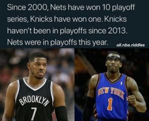 Beat that Knicks 👇 via @NetsDaily/Twitter: Since 2000, Nets have won 10 playoff  series, Knicks have won one. Knicks  haven't been in playoffs since 2013.  Nets were in playoffs this year.  all.nba.riddles  EW YORK  BROOKLY  7  1 Beat that Knicks 👇 via @NetsDaily/Twitter