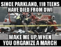 Memes, Good, and 🤖: SINCE PARKLAND, 118 TEENS  HAVE DIED FROM DWI  WAKE MEUP WHEN  YOU ORGANIZE A MARCH Good point.