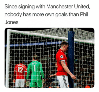 Goals, Soccer, and Sports: Since signing with Manchester United,  nobody has more own goals than Phil  Jones Naturally, United signs him to a 4-year extension
