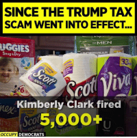 Trump, Ace, and Kimberly Clark: SINCE THE TRUMP TAX  SCAM WENT INTO EFFECT...  oMEN  GGIES  Snug&Dry  AR  33:  ace  412  6  Kimberly Clark fired  oy  20%  ORE  S5,000+u  Value  DEMOCRATS Companies are closing