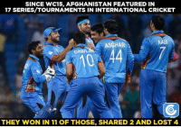 Memes, 🤖, and Nabi: SINCE WC15, AFGHANISTAN FEATURED IN  17 SERIES/ TOURNAMENTS IN INTERNATIONAL CRICKET  NABI  ASGHAR  DANN  THEY WON IN 11 OF THOSE, SHARED 2 AND LOST 4 Impressive winning record for Afghanistan.