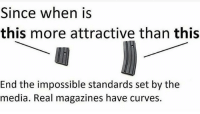 Memes, 🤖, and Media: Since when is  this more attractive than this  End the impossible standards set by the  media. Real magazines have curves. We prefer ours even heftier than this. noshame jussayin heftyisbetter @Regrann from @contramags - www.contramags.com 10-30mags fuckyourfeelings livefree - regrann