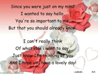 lovely day: Since you were just on my mind  I wanted to say hello  you're so important to me  But that you should already kno  I can't really think  of what else i want to say  Just know I  thinking  oT you  have a lovely day!  And I hope  miletha  imikimi am  M.E.