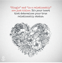 """Relationship Statuses: """"Single"""" and """"in a relationship""""  are just titles. It's your heart  that determines your true  relationship status."""