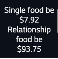 Food, Latinos, and Memes: Single food be j  $7.92  Relationship  food be  S93.75 So true 😅😂😂😂 🔥 Follow Us 👉 @latinoswithattitude 🔥 latinosbelike latinasbelike latinoproblems mexicansbelike mexican mexicanproblems hispanicsbelike hispanic hispanicproblems latina latinas latino latinos hispanicsbelike
