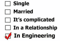 Engineering: Single  Married  It's complicated  In a Relationship  In Engineering
