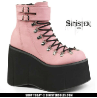 *NEW* These PINK platform ankle boots have just arrived! Shop at SinisterSoles.com - http://www.sinistersoles.com/KERA-21-Pink-Wedge-Platform-Boots-p/s-demonia-kera-21-boots-pnk.htm: SinistER  SHOP TODAY a SINISTER SOLES.COM *NEW* These PINK platform ankle boots have just arrived! Shop at SinisterSoles.com - http://www.sinistersoles.com/KERA-21-Pink-Wedge-Platform-Boots-p/s-demonia-kera-21-boots-pnk.htm
