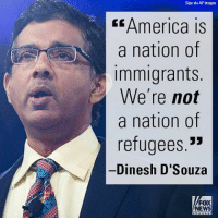 """Memes, Dinesh d'Souza, and 🤖: Sipa via AP Images  America is  a nation of  Immigrants  We're not  a nation of  refugees.""""  Dinesh D'Souza  FOX  NEWS On """"FOX & Friends Weekend,"""" Dinesh D'Souza shared his perspective on America and immigration."""