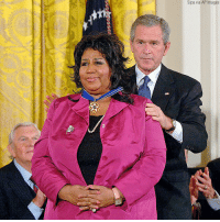 George W. Bush, Memes, and White House: Sipa via AP Images Remembering Aretha Franklin: Former President George W. Bush honored celebrities and personalities including singer Aretha Franklin with the Presidential Medal of Freedom during a ceremony at the White House on November 9, 2005.