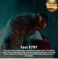 Memes, Deadpool, and Daredevil: SIPERHERO  BOOK  Fact #797  After his Ultron Imperative' protocol became active, the Vision  spent hours absorbing solar energy and gathering raw materials  to re-create his body so that it would be made entirely out of  nanobots. Name your favorite member in the Avengers! - marvel superhero facts marvelfacts supervillain rocketracoon spiderman marveluniverse anime marvelstudios xmen daredevil avengers comics mcu marvelart marvelcomics teamcap civilwar teamironman ironman avengers deadpoolmovie captainamerica deadpool blackpanther vision ===================================