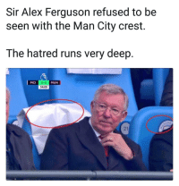 Rivalry is forever 😂👌⚽️ Manchester ManU United SirAlex SirAlexFerguson Rivalry: Sir Alex Ferguson refused to be  seen with the Man City crest.  The hatred runs very deep  2-0  34:00  MCI  MUN  CHE  21 Rivalry is forever 😂👌⚽️ Manchester ManU United SirAlex SirAlexFerguson Rivalry