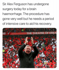 Memes, Period, and Brain: Sir Alex Ferquson has undergone  surgery today for a brain  naemorrnage. Tne procedure has  gone very well but he needs a period  of intensive care to aid his recovery  951  THE THEATRE OF DREA Wishing Sir Ferguson a speedy recovery. 🙏❤️
