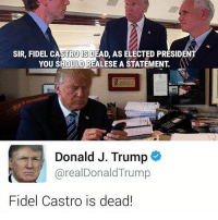 Tumblr, Fidel Castro, and Fidelity: SIR, FIDEL CASTRO SDEAD, AS ELECTED PRESIDENT  YOU SHOULD REALESE A STATEMENT.  Donald J. Trump  arealDonald Trump  Fidel Castro is dead!