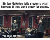 Dank, 🤖, and Sir: Sir Ian McKellen tells students what  happens if they don't study for exams.  You shall not pass!