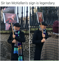 Facepalm, Memes, and Ian McKellen: Sir Ian McKellen's sign is legendary  Drity Worship Facepalm never looked so good. | For more @aranjevi
