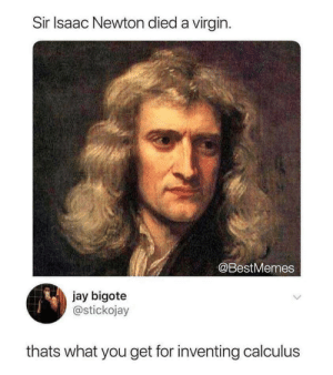 Thats What: Sir Isaac Newton died a virgin  @BestMemes  jay bigote  @stickojay  thats what you get for inventing calculus