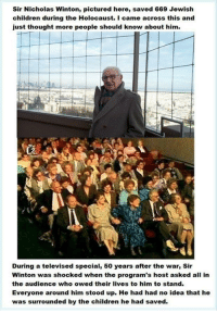 <p>This is love for humanity</p>: Sir Nicholas Winton, pictured here, saved 669 Jewish  children during the Holocaust. I came across this and  just thought more people should know about him.  During a televised special, 50 years after the war, Sir  Winton was shocked when the program's host asked all in  the audience who owed their lives to him to stand.  Everyone around him stood up. He had had no idea that he  was surrounded by the children he had saved. <p>This is love for humanity</p>
