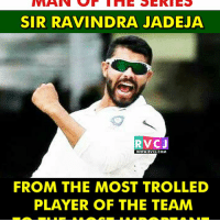 Memes, 🤖, and Player: SIR RAVINDRA JADEJA  RVCJ  WWW. RVCJ.COM  FROM THE MOST TROLLED  PLAYER OF THE TEAM That's Sir Jadeja for you.. rvcjinsta