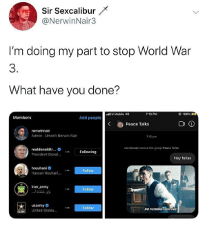 Hero stops World War 3, c. 2020: Sir Sexcalibur  @NerwinNair3  I'm doing my part to stop World War  3.  What have you done?  .all U Mobile 4G  © 100% E4  7:13 PM  Members  Add people  Peace Talks  nerwinnair  Admin - Umesh Nerwin Nair  7:12 pm  nerwinnair named the group Peace Talks  realdonaldtr..  Following  President Donal.  Hey fellas  hrouhani  Follow  Hassan Rouhani.  iran_army  Follow  . . .لوإن جندنا  usarmy  United States.  Follow  NO FUCKING FIGHTING!  SARNT Hero stops World War 3, c. 2020