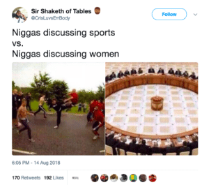 Dank, Dude, and Fucking: Sir Shaketh of Tables  @CrisLuvsErBody  Follow  Niggas discussing sports  VS  Niggas discussing women  6:05 PM -14 Aug 2018  170 Retweets 192 Likes You start trading tips with a dude you just called a fucking dumbass idiot by MGLLN MORE MEMES