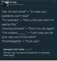 "Bitch, Fuck You, and Try Me: Sir Slay  @TheBlackHermit  ""per my last email"" -""In case you  suddenly can't read""  ""To reiterate"" ""this is the last time I'm  saying this""  ""moving forward"" ""Don't try me again""  ""I've copied  your way out of this bitch""  ""Kind Regards"" ""Fuck you""  ""- ""Let's see you lie  Slimeball 3 OUT NOW @OGXTP  How do I say ""you got me fucked up"" in corporate  email lingo? So accurate 😂💯 https://t.co/vg7nhYFYbz"