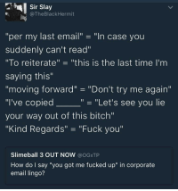 """Bitch, Dank, and Fuck You: Sir Slay  @TheBlackHermit  """"per my last email"""" -""""In case you  suddenly can't read""""  """"To reiterate"""" - """"this is the last time I'm  saying this  moving forward""""-""""Don't try me again""""  """"I've copied  your way out of this bitch""""  """"Kind Regards"""" """"Fuck you""""  """"- """"Let's see you lie  Slimeball 3 OUT NOW @OGxTP  How do I say """"you got me fucked up"""" in corporate  email lingo? danktoday:  If you know, you know by Mr1856 MORE MEMES"""
