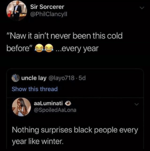 "I felt this by the-brown-memer MORE MEMES: Sir Sorcerer  @PhilClancyll  ""Naw it ain't never been this cold  ...every year  before""  uncle lay @layo718 5d  Show this thread  aaLuminati  @SpoiledAaLona  Nothing surprises black people every  year like winter I felt this by the-brown-memer MORE MEMES"