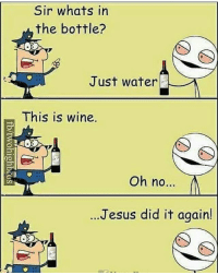 🍷😂😂😂: Sir whats in  the bottle?  Just water  This is wine.  Oh no...  Jesus did it again! 🍷😂😂😂