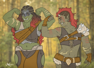 Club, Cute, and Fight Club: siren-of-hades:  My orc sisters! They're very competitive with one another, but perfectly friendly <3Fayola (long hair) is quite feminine, likes boys and cute things, has a fondness for jewelry, and is afraid of spiders. Nadetta (shorter hair) is a butch lesbian who may or may not be part of a fight club…or five… she is also afraid of spiders.