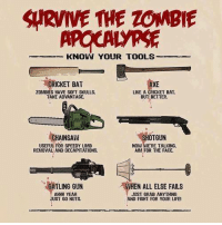 Dank, Fail, and Guns: SIRVWE THE ZOMBIE  KNOW YOUR TOOLS  CRICKET BAT  AXE  ZOMBIES HAVE SOFT SKULLS.  LIKE A CRICKET BAT.  TAKE ADVANTAGE.  BUT BETTER.  HOTGUN  CHAINSAW  USEFUL FOR SPEEDY LIMB  NOW WERE TALKING.  AIM FOR THE FACE.  REMOVAL AND DECAPITATIONS.  GATLING GUN  WHEN ALL ELSE FAILS  AHHH YEAH  JUST GRAB ANYTHING  UST GO NUTS.  AND FIGHT FOR YOUR LIFE!