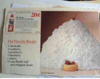 epicjohndoe:  Serving Suggestion: sise  Reddi-wip'product.  Our Favorite Recipe  l shortcake  I raspberry  I strawberry  l blueberry  1 cherry  15 cans Reddi-wip  real whipped cream  Serving Suggestion epicjohndoe:  Serving Suggestion