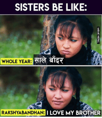 Be Like, Love, and Nepali: SISTERS BE LIKE  WHOLE YEAR: GIG  RAKSHYABAN  DHAN:I LOVE MY BROTHER 😂😂