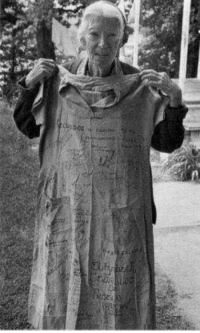 Sisters my sisters, Dorothy Day with her prison dress. In November 1917, Day went to prison for being one of forty women in front of the White House protesting women's exclusion from the electorate. She's one of the reasons why you can vote, and a stark reminder that voting should never be taken for granted.: Sisters my sisters, Dorothy Day with her prison dress. In November 1917, Day went to prison for being one of forty women in front of the White House protesting women's exclusion from the electorate. She's one of the reasons why you can vote, and a stark reminder that voting should never be taken for granted.