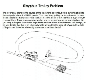 Death, Help, and Greek: Sisyphus Trolley Problem  The lever only changes the course of the track for 5 seconds, before switching back to  the first path, where it will kill 5 people. You must keep pulling the lever in order to save  these people (neither you nor the captives need to sleep or eat coz this is a greek myth  or something). There is noone else nearby, and no way of leaving or reaching help. Do  you keep pulling the lever in the hope that somehow these circumstances will change, or  do you decide that this is an inherently futile act and that to keep all of you in this state  of imprisoned limbo for all eternity was more cruel than death?  0000 hmmm