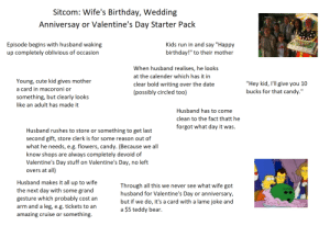 """Sitcom: Wife's Birthday, Wedding Anniversary or Valentine's Day Starter Pack: Sitcom: Wife's Birthday, Wedding  Anniversay or Valentine's Day Starter Pack  Kids run in and say """"Happy  birthday!"""" to their mother  Episode begins with husband waking  up completely oblivious of occasion  When husband realises, he looks  at the calender which has it in  Young, cute kid gives mother  """"Hey kid, I'll give you 10  bucks for that candy.""""  clear bold writing over the date  (possibly circled too)  a card in macoroni or  something, but clearly looks  like an adult has made it  Husband has to come  clean to the fact thatt he  forgot what day it was.  Husband rushes to store or something to get last  second gift, store clerk is for some reason out of  what he needs, e.g. flowers, candy. (Because  we all  know shops are always completely devoid of  Valentine's Day stuff on Valentine's Day, no left  overs at all)  Husband makes it all up to wife  Through all this we never see what wife got  husband for Valentine's Day or anniversary,  HOMER  the next day with some grand  gesture which probably cost an  arm and a leg, e.g. tickets to an  but if we do, it's a card with a lame joke and  $5 teddy bear.  а  something.  amazing cruise or Sitcom: Wife's Birthday, Wedding Anniversary or Valentine's Day Starter Pack"""