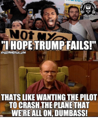 "Fire, Memes, and 🤖: SITEACE THR  RIOR FIRE  NOt  THOPETRUMPTAILSI""  KEEFAMERILA UPA  THATS LIKE WANTING THE PILOT  TO CRASH THE PLANE THAT  WEREALL ON, DUMBASS! LiberalLogic"