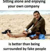 Memes, 🤖, and Company: Sitting alone and enjoying  your own company  is better than being  surrounded by fake people true?😂😂😂 Check out all of my prior posts⤵🔝 Positiveresult positive positivequotes positivity life motivation motivational love lovequotes relationship lover hug heart quotes positivequote positivevibes kiss king soulmate girl boy friendship