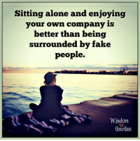 www.wisdomquotes4u.com: Sitting alone and enjoying  your own company is  better than being  surrounded by fake  people.  Wisdom  Quotes www.wisdomquotes4u.com