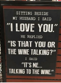 """Lol sounds good to me ~sarah: SITTING BESIDE  MY HUSBAND I SAID  """"I LOVE YOU""""  HE REPLIED  """"IS THAT YOU OR  THE WINE TALKING?""""  I SAID  """"IT'S ME  TALKING TO THE WINE."""" Lol sounds good to me ~sarah"""