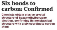 Hype, Chemist, and Bond: Six bonds to  carbon: Confirmed  Chemists obtain elusive crystal  structure of hexamethylbenzene  dication, confirming its nonclassical  structure with a six-coordinate carbon  atom hype!...the birth of new inorganic C12 :) ~ http://cen.acs.org/articles/94/i49/Six-bonds-carbon-Confirmed.html?type=paidArticleContent