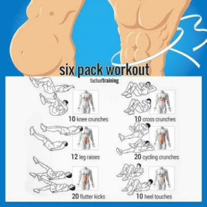 Save and never look again: six pack workout  factsoftraining  10 knee crunches  0 cross crunches  12 leg raises  20 cycling crunches  20 flutter kicks  10 heel touches Save and never look again