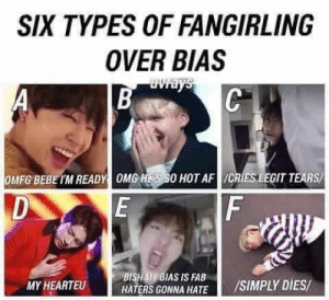 Af, Twitter, and Bebe: SIX TYPES OF FANGIRLING  OVER BIAS  OMFG BEBE IM READY OMO HOT AF /CRIES LEGIT TEARS  BISHAMY BIAS IS FAB  MY HEARTEU  HATERS GONNA HATE /SIMPLY DIES (1) #btsmemes' hashtag on Twitter