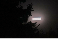sixpenceee: A billboard crashed in the fog, making it look like the sky was showing an error message.: sixpenceee: A billboard crashed in the fog, making it look like the sky was showing an error message.