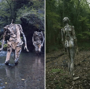 sixpenceee:  Driftwood figures roaming the forest. By Japanese artist, Nagato Iwasaki: sixpenceee:  Driftwood figures roaming the forest. By Japanese artist, Nagato Iwasaki
